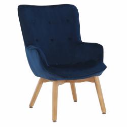 Dizajnové kreslo, modrá Velvet látka, FODIL, rozbalený tovar