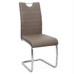 Jedálenská stolička, hnedá/svetlé šitie, ABIRA NEW