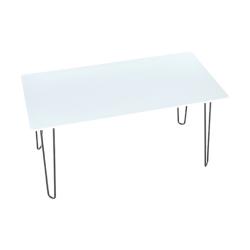 Jedálenský stôl, biela/kov, KURT, poškodený tovar