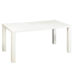 Jedálenský stôl, biela vysoký lesk HG, ASPER TYP 3, poškodený tovar