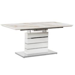 Jedálenský stôl rozkladací, mramorový vzor/biela HG, LAJOS, poškodený tovar