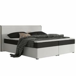 Komfortná posteľ, čierna látka/biela ekokoža, 180x200, NOVARA KOMFORT