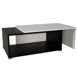 Konferenčný rozkladací stolík, čierna/biela, DRON, poškodený tovar