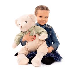 Plyšový medveď, smotanová/zelená, 65cm, MADEN BOY TYP2