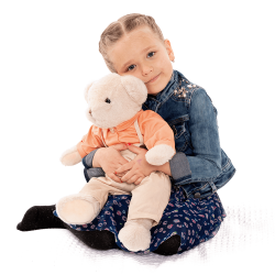 Plyšový medvedík, smotanová/oranžová, 45cm, MADEN BOY TYP1