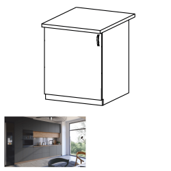 Spodná skrinka, dub artisan/sivý mat, ľavá, LANGEN D60